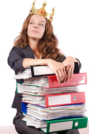 Businesswoman with lots of folders Stock Photo - 15583083