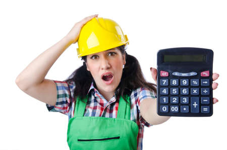 Woman builder with calculator on white photo