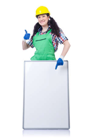 Woman builder with blank board photo