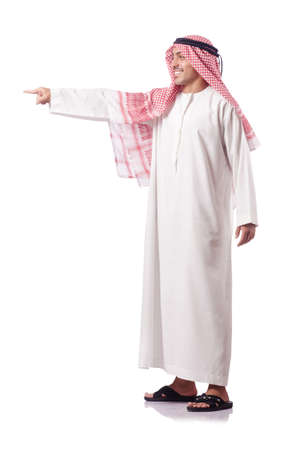 Arab man pressing virtual buttons Stock Photo - 15668042