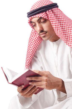 Arab man praying on white Stock Photo - 15784293
