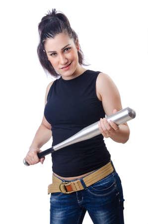 Woman criminal with bat on white Stock Photo - 15668136