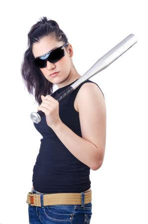 Woman criminal with bat on white Stock Photo - 15674394