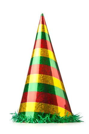 headwear: Party hat isolated on the white Stock Photo