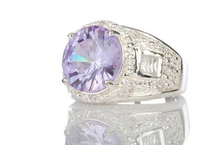 gemstones: Ring isolated on white background Stock Photo