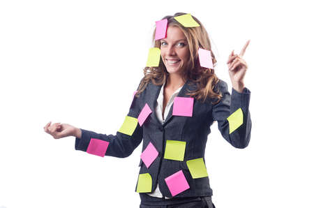 Woman with lots of reminder notes Stock Photo - 15567306