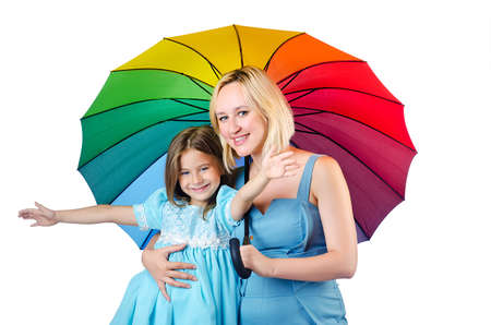 Happy mom and daughter on white Stock Photo - 15585868