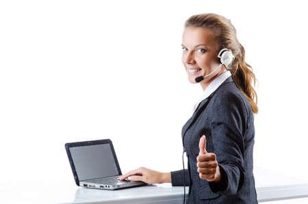 Female helpdesk operator on white photo