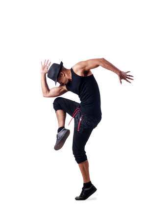 male ballet dancer: Muscular dancer isolated on white