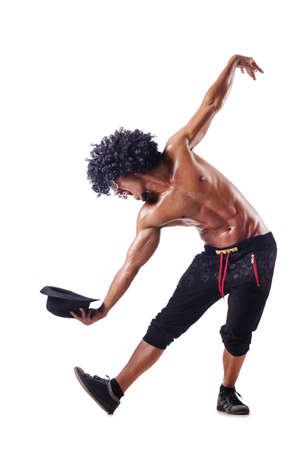 afrocut: Muscular dancer isolated on white