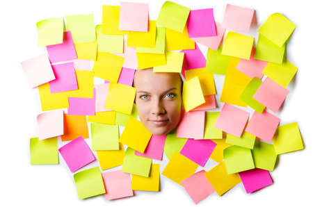 Woman with lots of reminder notes Stock Photo - 15586300