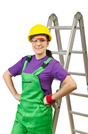 Woman worker with ladder on white Stock Photo - 15545477