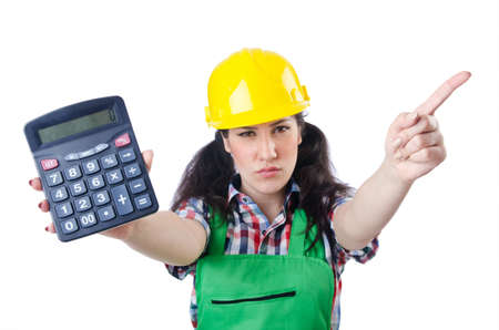 Woman builder with calculator on white Stock Photo - 15545099