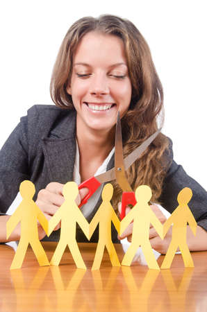 Businesswoman with paper people on white Stock Photo - 15557448