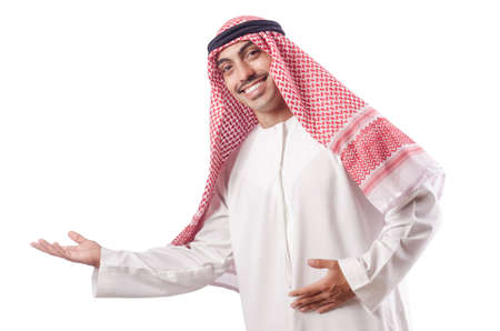 ethnic dress: Uomo arabo isolato sul bianco