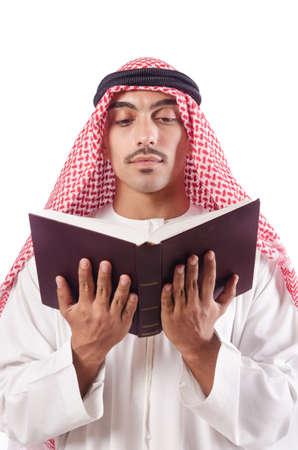 Arab man praying on white Stock Photo - 15557426
