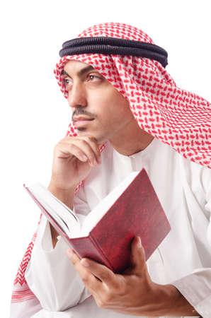 Arab man praying on white Stock Photo - 15557427