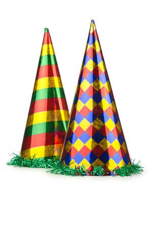 Party hoed geïsoleerd op het witte Stockfoto