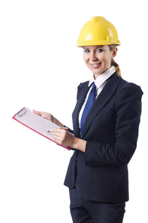 Businesswoman with helmet on white photo