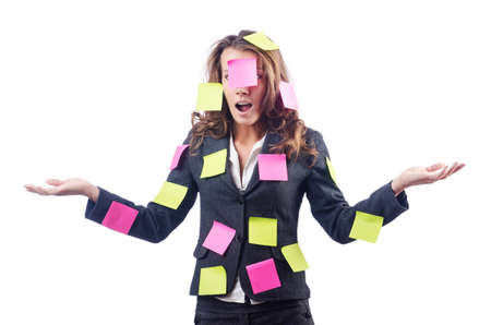 Woman with lots of reminder notes Stock Photo - 15570984