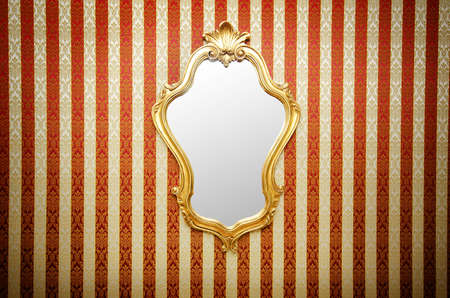 antique mirror: Ornate mirror on the wall