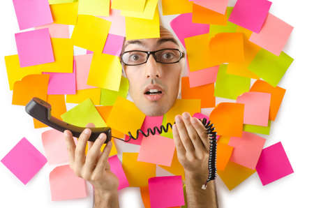 Man's face through paper and reminders Stock Photo - 15570896