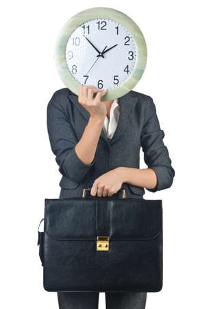 Businesswoman with clock isolated on white Stock Photo - 15551135