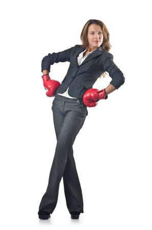 woman boxing gloves: Young businesswoman in boxing concept Stock Photo