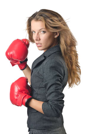 Young businesswoman in boxing concept Stock Photo - 15570856