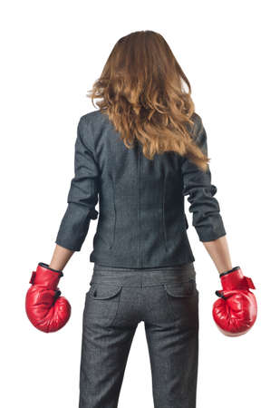 Young businesswoman in boxing concept Stock Photo - 15551133