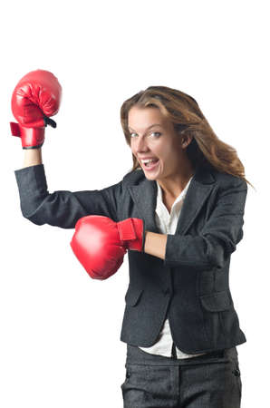 Young businesswoman in boxing concept Stock Photo - 15570884