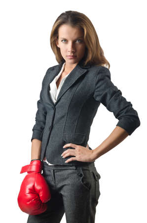 Young businesswoman in boxing concept Stock Photo
