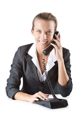 Attractive helpdesk operator on white photo