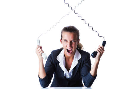 Female helpdesk operator on white Stock Photo - 15570981