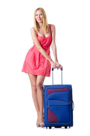 Woman going to summer vacation with suitcase Stock Photo - 15570982