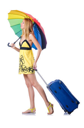 Woman going to summer vacation with suitcase Stock Photo - 15571014