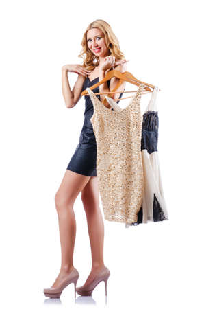 Attractive woman trying new clothing on white Stock Photo - 15571002