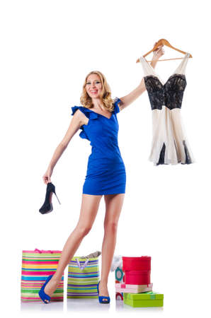 Attractive woman trying new clothing on white Stock Photo - 15571021