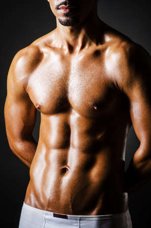 naked male body: Bodybuilder with muscular body Stock Photo