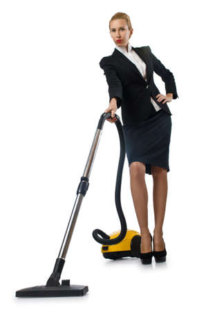 Businesswoman doing vacuum cleaning on white photo