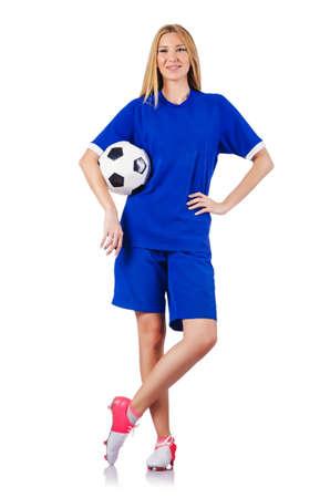 jugando futbol: Mujer que juega a f�tbol en blanco