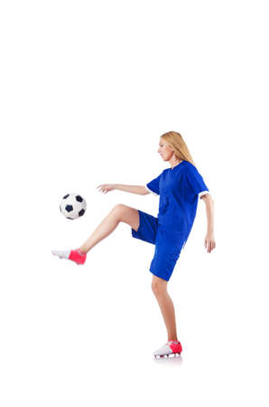 Woman playing football on white Stock Photo - 15571110