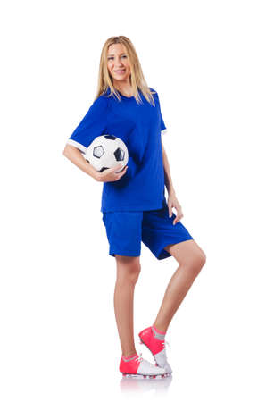 Woman playing football on white Stock Photo - 15571097