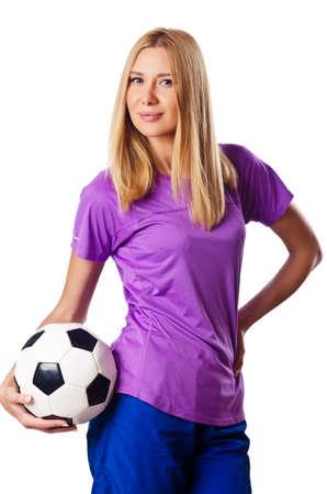 Woman playing football on white Stock Photo - 15570882