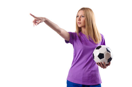 Woman playing football on white Stock Photo - 15571020