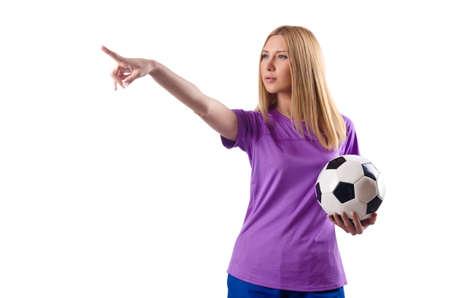 Woman playing football on white Stock Photo - 15571020