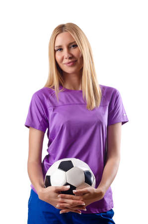 Woman playing football on white Stock Photo - 15570922