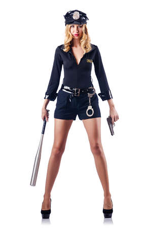 Woman police with baseball bat Stock Photo - 15566243