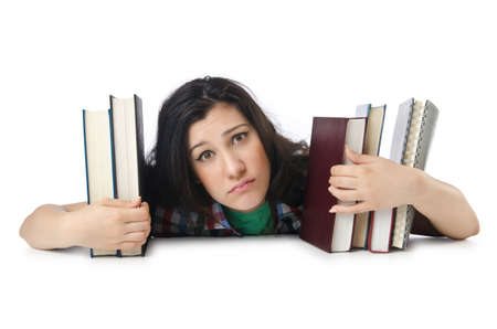 Tired student with textbooks on white Stock Photo - 15566266
