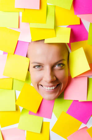 Woman with lots of reminder notes Stock Photo - 15566348